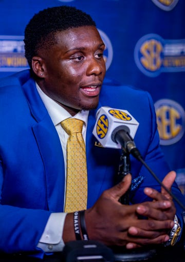 July 15, 2019; Birmingham, AL, USA; LSU Tigers offensive lineman Lloyd Cushenberry speaks to the media during SEC Media Days at the Hyatt Regency-Birmingham. Mandatory Credit: Vasha Hunt-USA TODAY Sports