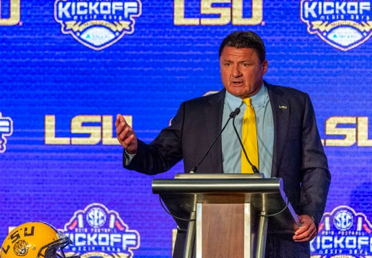 LSU Tigers head coach Ed Orgeron speaks to the media during SEC Media Days at the Hyatt Regency-Birmingham.