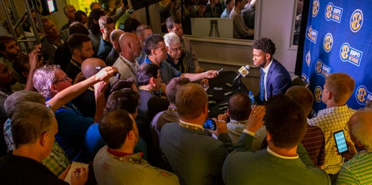 Reporters gather around Missouri quarterback Kelly Bryant on Monday, the first day of SEC Media Days in Hoover, Alabama.