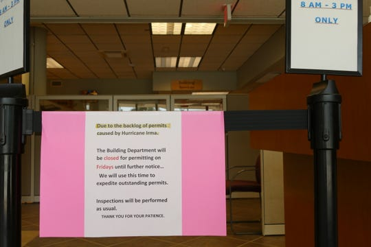 "A sign at the entrance of Marco Island City Hall says that the Building Services Division (BSD) is indefinitely closed  to the public on Fridays to ""expedite outstanding permits."" BSD started doing this in the first quarter of 2018, more than a year ago, according to building official Raul Perez."