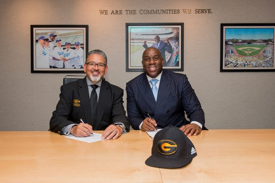 Grambling President Rick Gallot and Magic Johnson launched a partnership for SodexoMAGIC and the university on Monday.