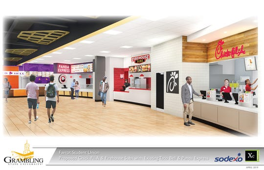 Rendering of the renovated student union food court Tiger Express.