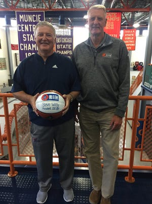 Steve Witty (left) and Jerry Peirson (right) are recognized at a June 13 meeting for the Indiana Basketball Hall of Fame. Peirson is the new president of the organization.