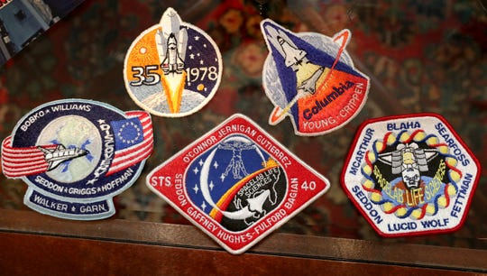 The patches that Astronaut Dr. Rhea Seddon acquired during her time with NASA.