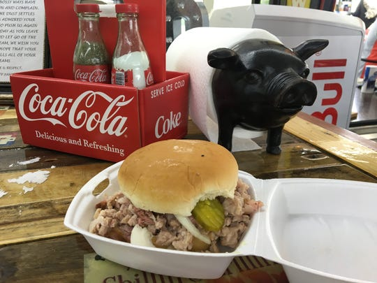 Freshly pulled pork sandwich from FatGuy Barbecue at 904 N.W. Broad St. in Murfreesboro.