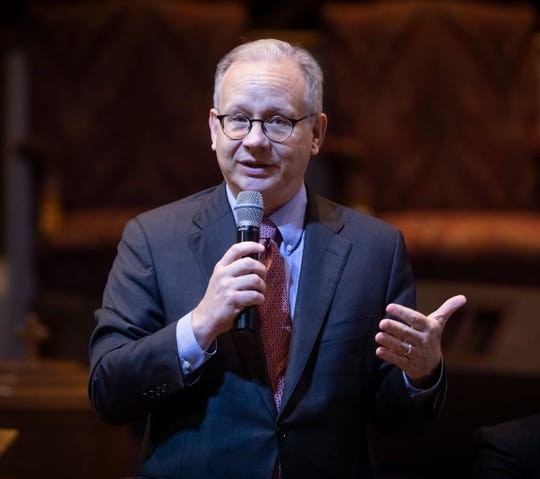 Mayor David Briley speaks during a forum for mayoral candidates put on by NOAH (Nashville Organized for Action and Hope) at Greater Bethel AME Church Sunday, July 14, 2019.