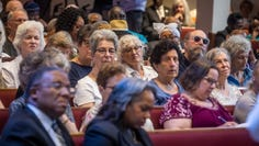 Audience members listen during a forum for mayoral candidates put on by NOAH (Nashville Organized for Action and Hope) at Greater Bethel AME Church Sunday, July 14, 2019.