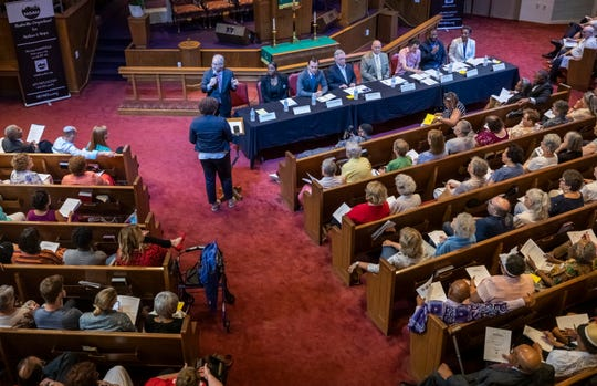 Mayor David Briley speaks during a forum for mayoral candidates put on by NOAH (Nashville Organized for Action and Hope) at Greater Bethel AME Church on July 14, 2019.