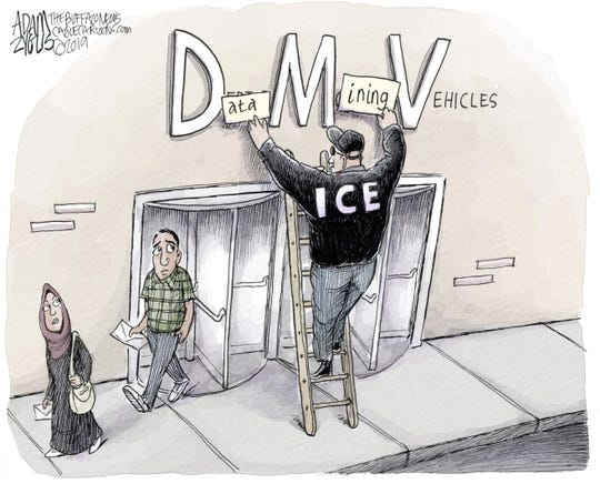 Data mining by ICE at DMV.