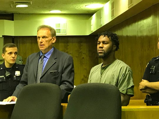Kevin Gallashaw Jr., in Superior Court on Monday with his attorney, Thomas Cataldo.