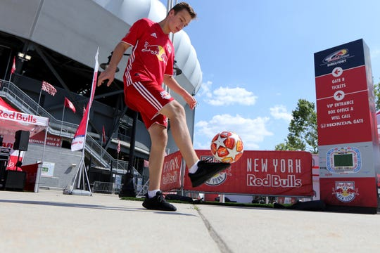 Nicholas Seyda, 14, of Stirling, does his freestyle moves at Red Bull Arena, in Harrison, before the game, Sunday, July 14, 2019.  Seyda is ranked in the top 10 in the national Freestyle Football Championships.  He is the youngest person to be ranked in the top ten.