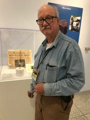 """David Parris,  curator of natural history, New Jersey State Museum, at the """"Many Inspired Steps"""" exhibit"""