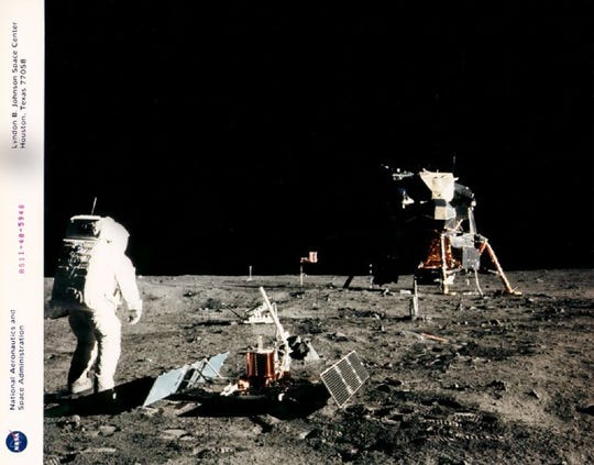 Astronaut Edwin E. Aldrin Jr. lunar module pilot, is photographed during the Apollo 11 extravehicular activity (EVA) on the Moon.  Astronaut Neil A. Armstrong, commander, took this picture with a 70mm linar surface camera