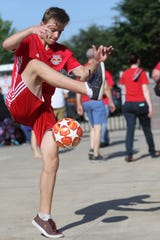 Nicholas Seyda, 14, of Stirling, does works as part of the Red Bulls Freestyle Crew, in Harrison, before the game, Sunday, July 14, 2019.  Seyda is ranked in the top 10 in the national Freestyle Football Championships.  Due to various health issues he was given a 3% chance of healthy survival at birth.  Today he is the youngest person in the U.S. to be ranked in the top ten for football freestyle.