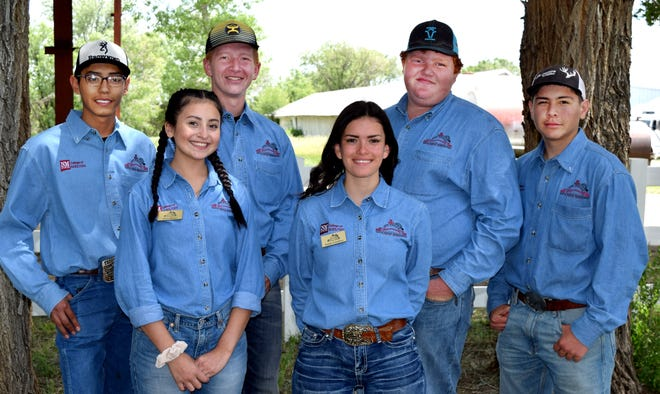 Ranch Up Cattle Company was the first place team at the 2019 New Mexico Youth Ranch Management Camp. Team members are, front from left, Sofie Reina of Lexington Park, Maryland; and Emily Cordova of Taos County. Back row are Elian Galindo of Taos County, Rhett McCarty of Valencia County, Grady Hodnett of Doña Ana County, and Andres Chacon of Rio Arriba County.