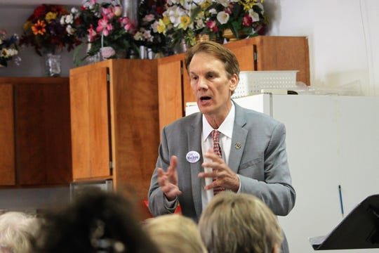 Republican Congressional candidate Chris Mathys answers a heckler during a town hall meeting at the Rio Mimbres Baptist Church in Mimbres on Saturday, July 13, 2019.