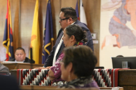 Members of the Navajo Nation Council listen to Delegate Nelson BeGaye talk about his resignation from the council during the summer session on July 15 in Window Rock, Ariz.
