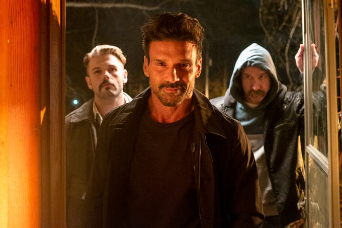 "David Cade (from left), Frank Grillo and Scott Peat star in ""Into the Ashes."""