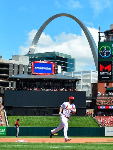 Paul Goldschmidt #46 of the St. Louis Cardinals runs the bases after hitting a two run home run during the third inning against the Arizona Diamondbacks at Busch Stadium on July 14, 2019 in St Louis, Missouri.