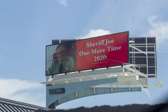 Someone paid to put up a billboard calling for Joe Arpaio, former Maricopa County sheriff, to run for the position again, as seen in downtown Phoenix on Saturday.