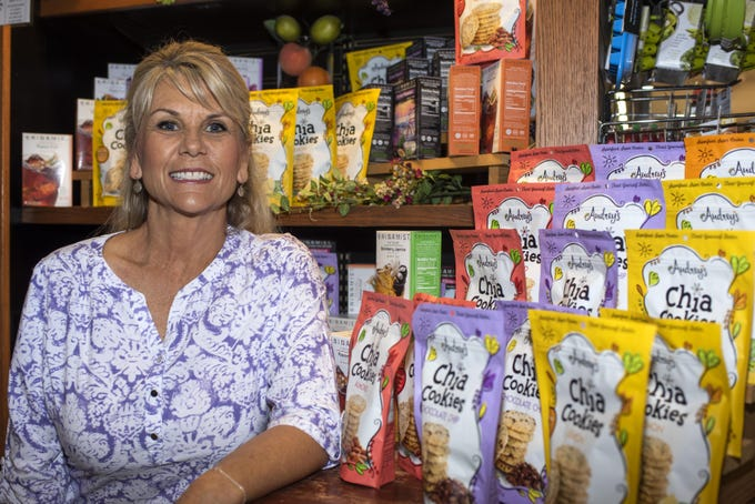 Audrey Martinez, creator of Audrey's Chia Cookies, poses for a portrait at AJ's Fine Foods in Mesa, Ariz. on July 2, 2019. Martinez created the company after discovering the health benefits of chia at 50 while preparing for her first marathon.