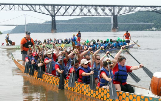 Participants are shown during the Dragon Boat Race and Festival on the Hudson River in Poughkeepsie July 22, 2017. This year's event, which will raise money for Habitat for Humanity of Dutchess County, is set for July 20.