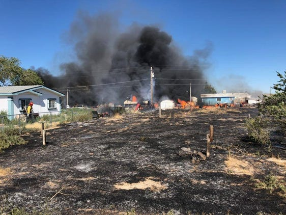 Central Lyon County Fire responding to fire in Silver Springs on Monday, July 15.