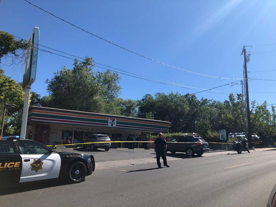 Reno police on the scene of an officer-involved shooting on July 15, 2019.