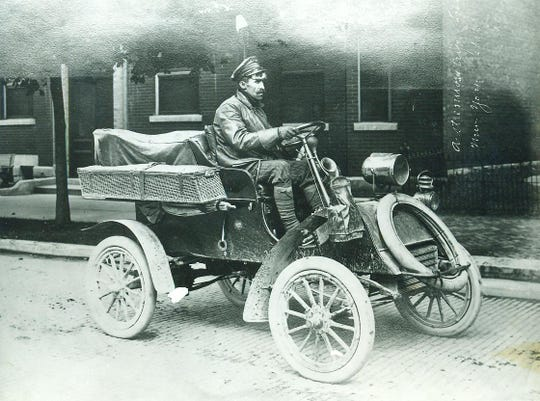 "Richmond's Will Vaughn reveled in his new 1903 two cylinder ""mechanized"" vehicle, basically a buggy with a motor. On July 4, 1904, Vaughn and two ""combustion engine"" enthusiasts spent the entire day ""motoring"" to Dayton, Ohio. On October 10, Vaughn left Richmond to drive to the Pacific Coast, accompanied by his dog and best human friend Loren Whitesell. It took over a week. Emblazoned on the back of his ""horseless carriage"" was ""California or bust."" That same year a combustion engine speeder broke the law dashing through Richmond, which is today's story."
