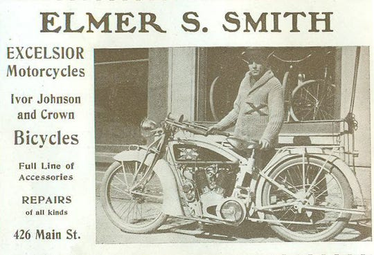 "Elmer Smith of Richmond sold motorcycles at 426 Main Street in this 1915 advertisement. The vehicle, though antiquated by today's standards, was by 1915 standards the ""motorized"" cycle of the future."