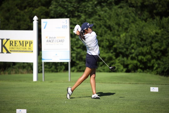 Esther Lee tees off on the seventh hole at the Donald Ross Classic last week. Lee finished tied for fourth at the event.