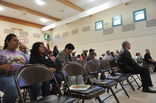 "Several people gathered at the ""Know Your Rights"" event at Jesse G. Sanchez Elementary School in Salinas on July 14, 2019, when President Donald Trump announced federal immigration raids in major cities across the country."