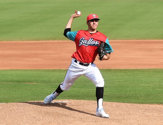Los Gallos de Delmarva pitcher Grayson Rodriguez makes a throw on Sunday, July 14, 2019.