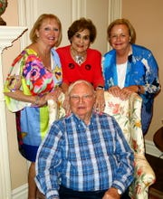 Businessman/Community Leader Horace Ladymon (clockwise, from seated) at his 90th birthday celebration hosted by   Becky DeKay, friend Keitha Fox and  Debbie Auerbach. The observance was held at Fox's home.