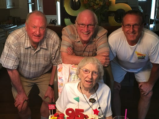"""Doris Friedrich, of Hagerstown, Md., celebrated her 95th birthday with her sons at her side: Craig Friedrich of Houghton, Mich.; Shreveporter Russ Friedrich; and David Friedrich, of Greencastle, Penn. The trio prepared the birthday dinner for their mom, ending the affair with a cake and ice crem and """"Happy Birthday."""""""