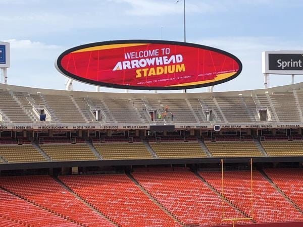 The west endzone video display at the Kansas City Chiefs home stadium was upgraded by South Dakota company Daktronics.