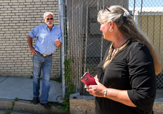 Dick Year of Midstates, Inc. shares concerns about the Whittier neighborhood's crime rate with City Councilor Theresa Stehly on Thursday, July 11.