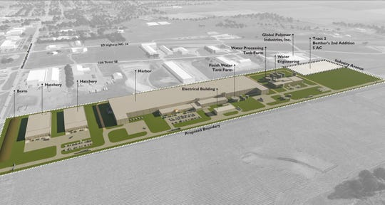 A rendering showing plans for the Tru Shrimp campus of facilities planned for Madison's industrial park.