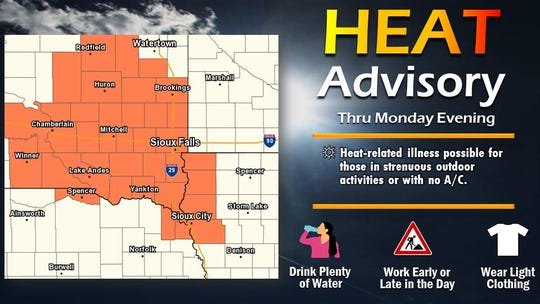 A heat advisory has been issued for Minnehaha County and much of southeast South Dakota Monday.