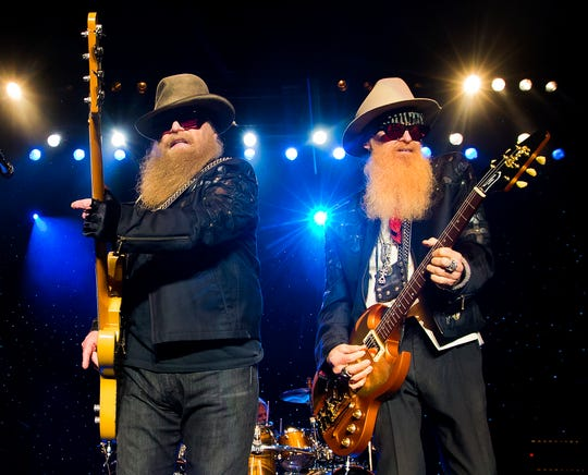 ZZ Top will return to Springfield for a November 2019 concert. In this photo Dusty Hill, left and Billy Gibbons perform on August 28, 2016 in Boston, Massachusetts.