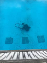 Police suspect a person threw a lawnmower into the Republic Acquatic Center pool early Sunday morning. The facility will be closed until Tuesday for cleaning.