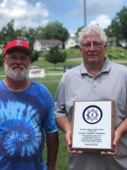 "Glenn Spangler, left, and Rocky Moomau were on hand when Lionel ""Rabbit"" Moomau was inducted into the Babe Ruth Southeast Region Hall of Fame."