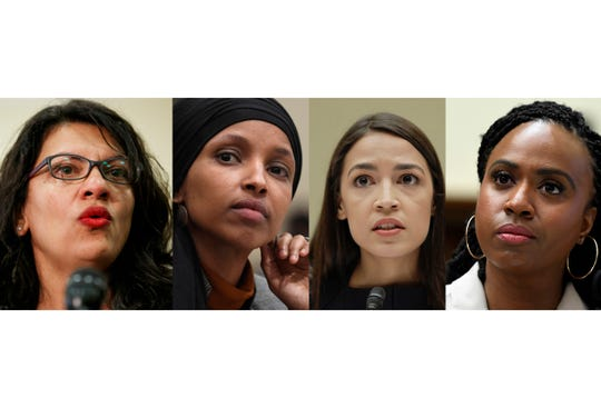 From left: Rep. Rashida Tlaib, D-Mich., Rep. Ilhan Omar, D-Minn., Rep. Alexandria Ocasio-Cortez, D-N.Y., and Rep. Ayanna Pressley, D-Mass. In tweets Sunday, President Donald Trump portrays the lawmakers as foreign-born troublemakers who should go back to their home countries.The lawmakers, except Omar, were born in the U.S. (AP Photo)