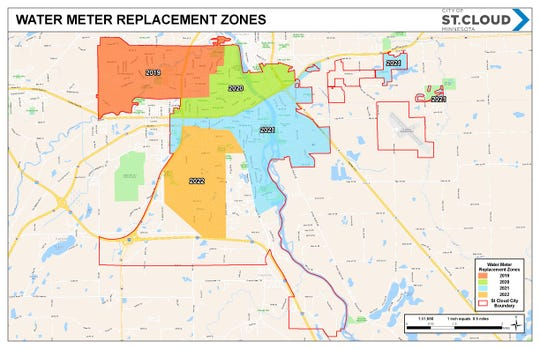 A map shows water meter replacement zones beginning in 2019 and ending in 2022.