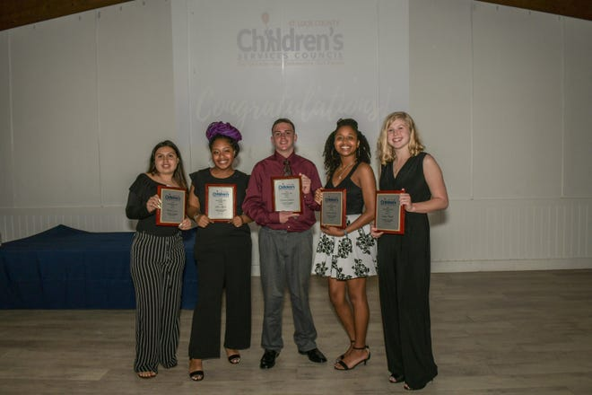 Outstanding Youth Award winners, from left, Hailey Guzman, Jakhia Lifhred, Christian Galentine, Sinclaire DuPree and Sophia Olsinski.