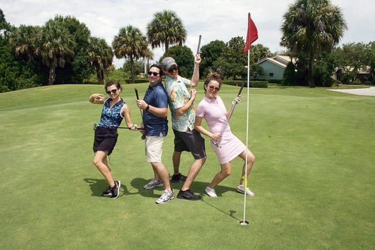 Alicia Biehel, left, Austin Biehel, Karsten Andersen and Parisa Farbakhsh at the Tee to Read Golf Tournament at Gator Trace Golf &Country Club in Fort Pierce on July 6.