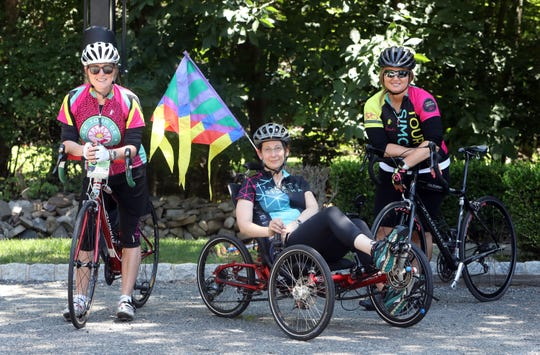 Tour de Simcha riders Libby Akerman of Wesley Hills, left, Leah Portnoy Worenklein of White Plains and Perel Lichter of Monsey July 15, 2019 in Wesley Hills. Akerman was one of the founders of the bicycle fundraiser that starts in Woodbridge, New Jersey and ends at Sullivan County's Camp Simcha for children with cancer and other chronic illnesses or disabilities.