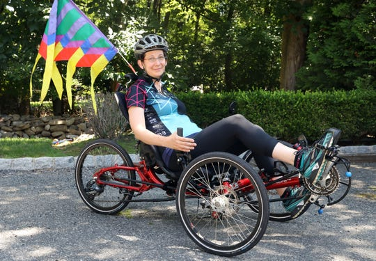 Tour de Simcha rider Leah Portnoy Worenklein of White Plains, who will participate in the bicycle fundraiser for the second year, July 15, 2019 in Wesley Hills. Portnoy Worenklein, 48, rides a recumbent tricycle. For years she was immobilized by her Multiple Sclerosis diagnosis, but the low-riding tricycle gave her her freedom back.