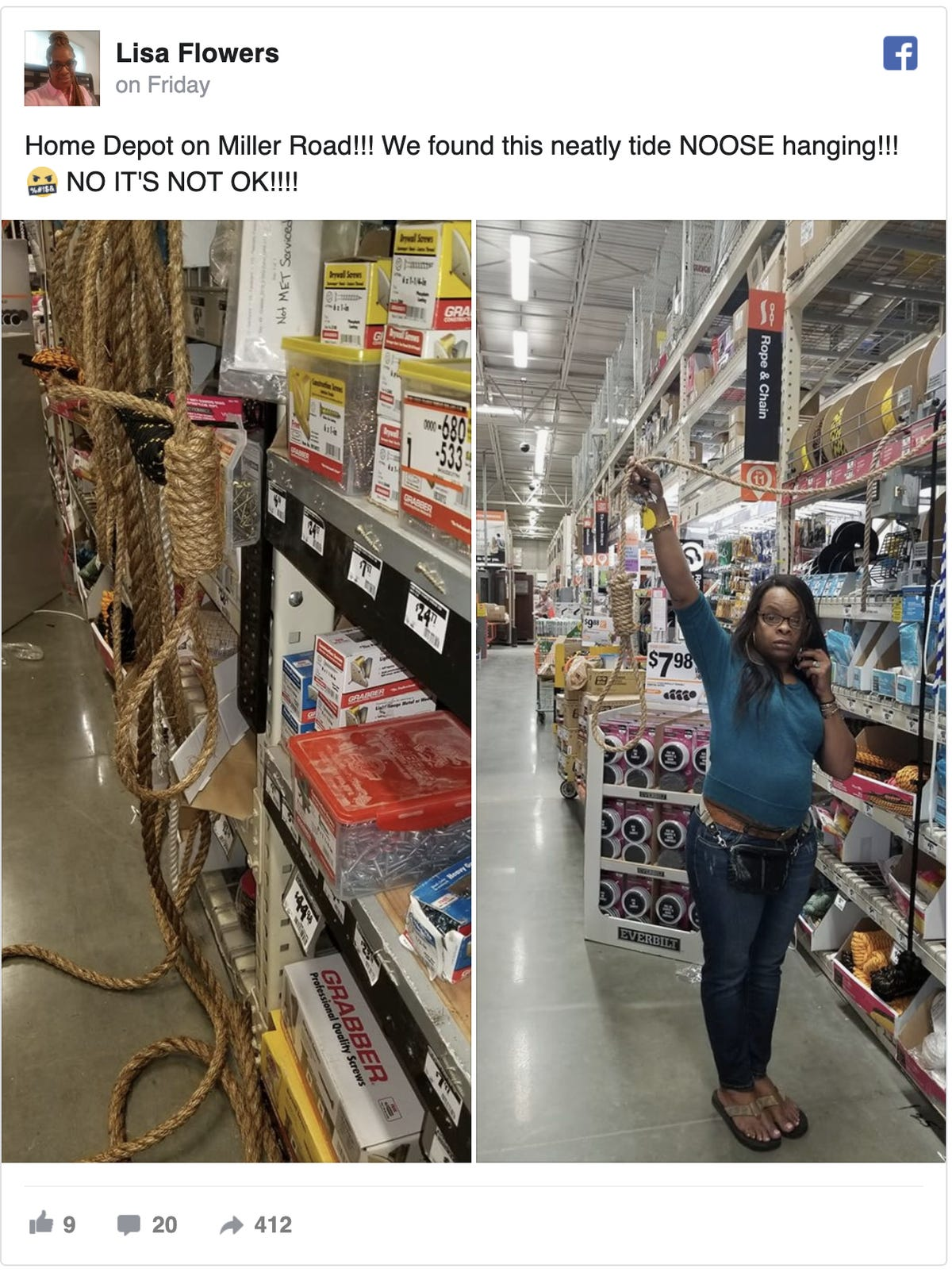 Woman finds noose in Delaware Home Depot