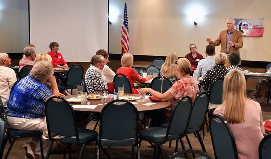 James Frank speaking Monday during a meeting of the Wichita County Republican Women. The state representative talked about the work done during the 86th Legislative Session in Austin.